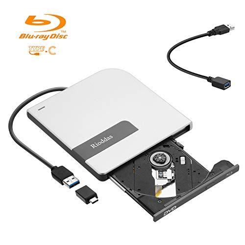 Rioddas External Blu Ray Drive TypeC  CD DVD Drive Ultra Slim USB3.0 Blu-ray Burner Writer Player for Win10/7/XP/MAC/Desktop/Laptop/Mac Pro