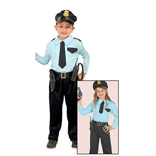 Amakando Polizist Kostüm Kind - 10 - 12 Jahre, 142 - 148 cm - Polizeiuniform Kinder Polizistin Karnevalskostüm Politesse Outfit Wachtmeister Faschingskostüm Polizei Kinderkostüm