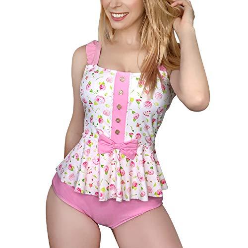 LittleForBig bescheidene Kawaii eine Stück Badebekleidung Badeanzug – Retro Rose Rosa XL