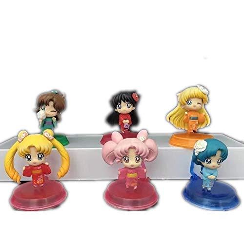 WFLNA Sailor Moon Figure Sailor Moon Kimono Figure Anime Chibi Figure Action Figure 6pcs/lot