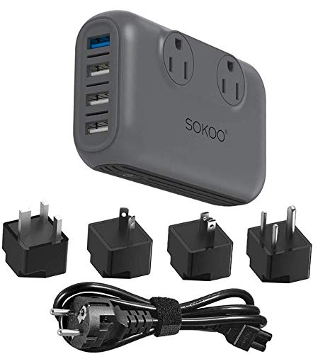 Sokoo Voltage Converter 220V to 110V, International Power Converter for Hair Straightener/Curling Iron, Step Down Universal Travel Adapter EU/UK/AU/US/India, 2Outlet, 4 Port USB Charger QC3.0 Grey