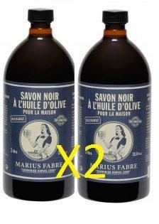 Marius Fabre SAVON DE MARSEILLE - Savon Noir à L'Huile d'Olive 1L - Lot de 2 Flacons - 2 x 1L