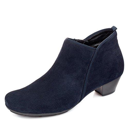 Gabor 75.633-16 Damen Stiefelette hochwertigen Veloursleder Used-Look stillvoll, Groesse 37, dunkelblau