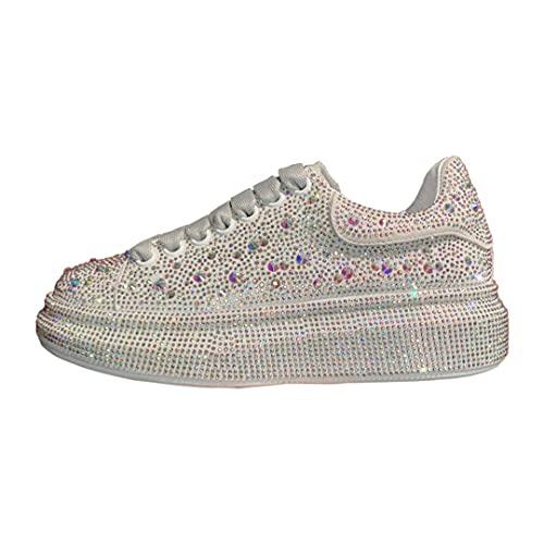 Oceansee Zapatos de Mujer Zapatos de Cuero de Moda Mujeres Zapatos de Plata de Diamantes de Deporte de Diamantes de Deporte de Diamantes de imitación White 10