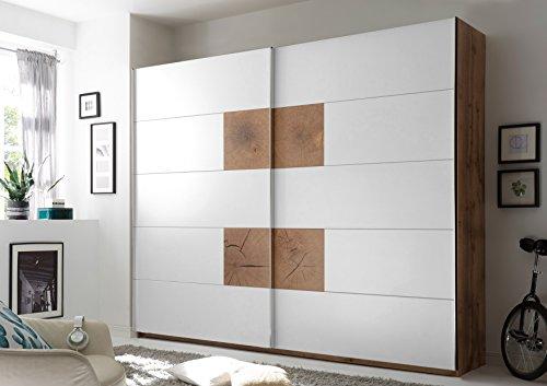 moebel-guenstig24.de Schwebetürenschrank Capri Kleiderschrank Schrank Schlafzimmer weiß Wildeiche 270cm