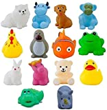 WISHKEY Plastic Bath Toy Set of 14 Pcs Chu Chu Colorful Animal Shape Toy for New Born Babies, Fun Bathtime Buddies for Toddlers (Pack of 14, Multicolor)