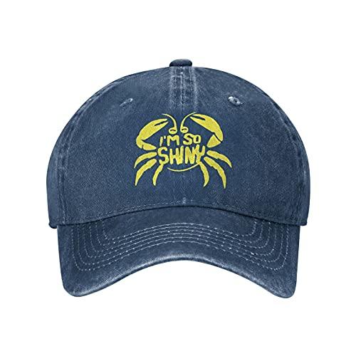 I'm So Shiny Cowboy Hat Retro Baseball Cap Washable Cotton Trucker Cap Dad Denim Hat for Men Women Navy