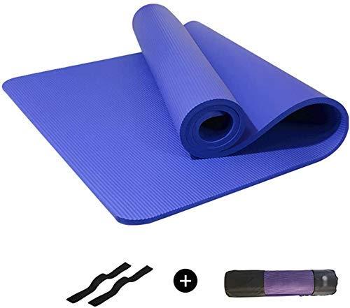 Alfombras de yoga deportes antideslizante NBR AMBIENTAL Hipoalergénico Piel amigable con la piel Aptitud Apta para la aptitud al aire libre Hogar, Bolsa y Paquete Rope 185 veces; 80 cm (Color: Azul, T