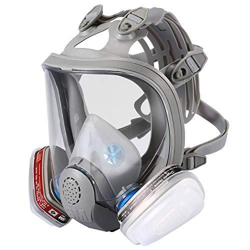 ENJOHOS Cubierta de Protección para Los Ojos Cubierta de la Cara Cubierta de la Cabeza con Válvula de Cara Completa con Amplio Campo de Visión Adecuado para Aerosol de Polvo Gris