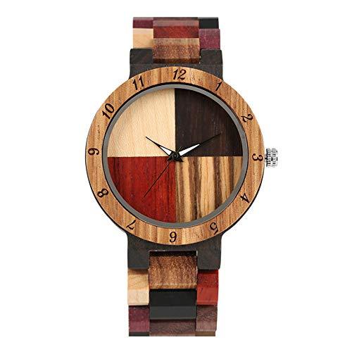 YJRIC Reloj de Madera Creativo Simple Colorido Brazalete de eslabones de Madera Reloj para Hombre Caja de Reloj de Madera Cierre Plegable Movimiento de Cuarzo Reloj Regalos