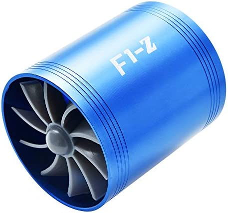 Double Turbine Turbo Charger Air Intake Gas Fuel Saver Fan Car Supercharger 4 Colors Optional Blue Red Silver Black (Red)