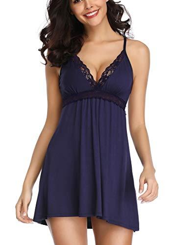 marysgift - Camisón de algodón para mujer, sexy, ropa de noche, con encaje, escote en V, vestido de noche, lencería, sin mangas, espalda descubierta, tallas 36-50 Azul 2 48-50