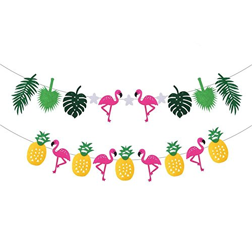 Hawaiian Tropical Party Decoration Garland, VEYLIN 2 Pack Flamingo Pineapple Banner for Hawaiian Theme Birthday Party Decoration