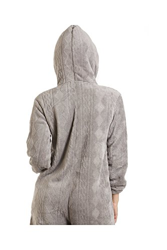 CAMILLE Druck Super Weiches Fleece Alles in Einem 42-44 Grey Nina Onesie - 3