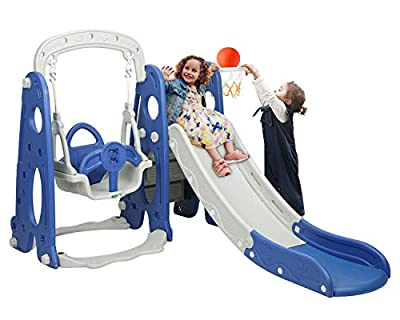 BAHOM 3 in 1 Climber Slides Playset for Boys Girls Indoor and Outdoor Play, Kids Climber with Slide and Swing for Toddlers (Blue) by BAHOM