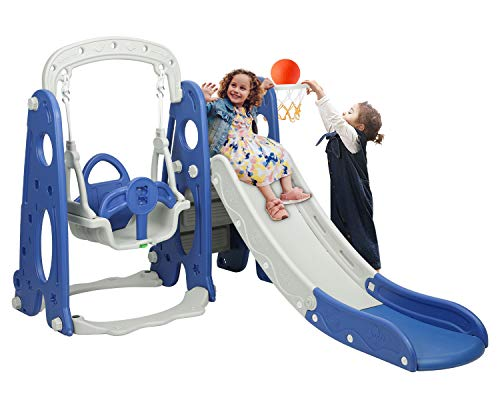 BAHOM 3 in 1 Climber Slides Playset for Boys Girls Indoor and Outdoor Play, Kids Climber with Slide and Swing for Toddlers, Ages 6 Months to 6 Years Old (Blue) …