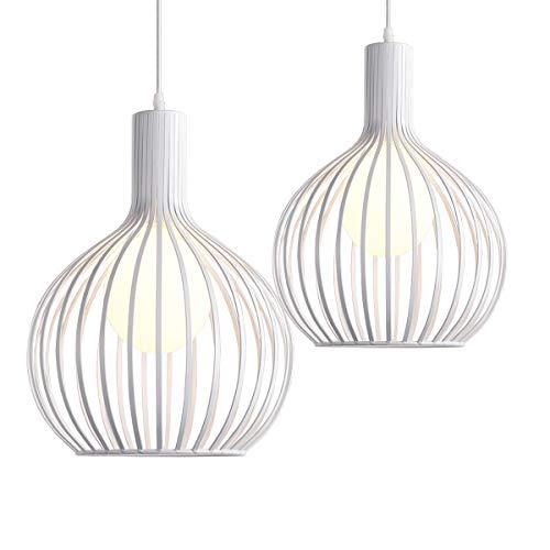 iDEGU Lot de 2 Suspension Luminaire Moderne, Lustre Plafonnier en métal en Forme de Cage à Vase Lampe de Plafond pour chambre salon cuisine salle à manger restaurant - diamètre 20cm, Blanc