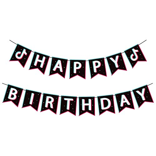 TIK TOK Happy Birthday Printing Banner, Music Note Sign Flags Decor Themed Party Decoration Shot Video Fans for Musical Party Sharing Celebration Birthday Party Supplies