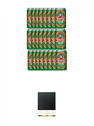 Tsingtao China Bier 24 x 0,33 Liter in Dose inklusive Dosenpfand + Schiefer Glasuntersetzer eckig ca. 9,5 cm Durchmesser