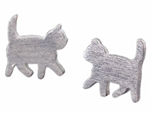 NicoWerk Silber Ohrstecker Katze Kitten Damen 925 Ohrringe Stecker Ohrschmuck Geschenk SOS151