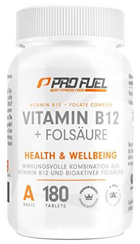 VITAMIN B12 Depot • 1000µg + FOLSÄURE • 400µg | 180 kleine Tabletten | 12 Monatspackung | Methycobalamin B12 | Quatrefolic® Folsäure | Made in Germany | 100% vegan