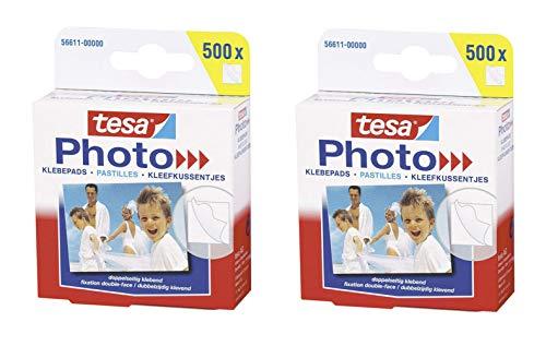 tesa Photo Klebepads, beidseitig klebend zur Erstellung eines Fotobuches, Big Pack (2X 500 Stück)