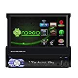 Binize Single Din Android Car Stereo Navigation Receiver,7 Inch Retractable & Flip Out Touch Screen,with Bluetooth,WiFi,GPS,Mirror Link,USB/SD/AUX-in,FM/RDS (9601A 2G RAM + 16G ROM)