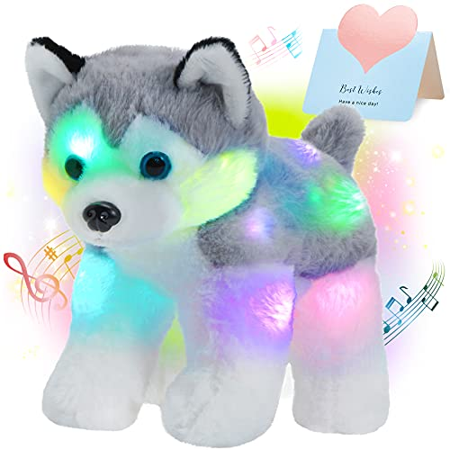 Bstaofy 12'' Musical Light up Husky Puppy Stuffed Animal Realistic LED Singing Dog Soft Plush Toy with Night Lights Lullaby Glow in The Dark Birthday for Toddler Kids