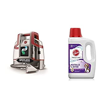 Hoover FH11300PC Spotless Portable Carpet & Upholstery Spot Cleaner Red Spotless & AH30925 Paws & Claws Deep Cleaning Carpet Shampoo 64oz Formula White