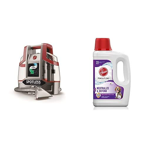 Hoover FH11300PC Spotless Portable Carpet & Upholstery Spot Cleaner, Red Spotless & AH30925 Paws & Claws Deep Cleaning Carpet Shampoo, 64oz Formula, White