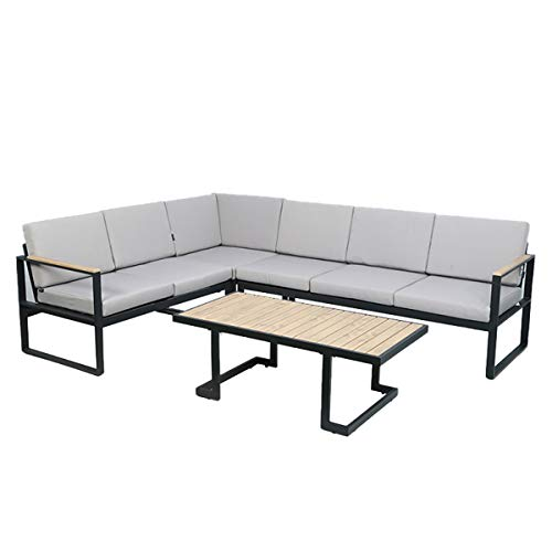 Charles Bentley Polywood and Extrusion Aluminium Corner Sofa and Coffee Table Set 5 Person Outdoor Garden Furniture Industrial Grey Black