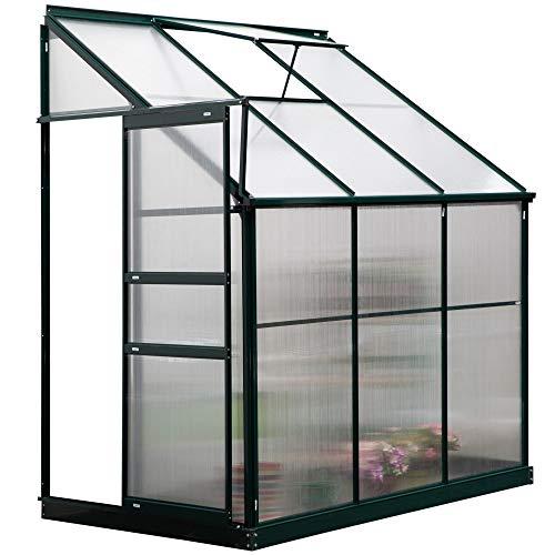 Outsunny Invernadero de Jardín de Aluminio y Policarbonato con Techo Ajustable Resistente a los Rayos UV para Huerto Jardinería 192x125x221 cm Transparente y Verde
