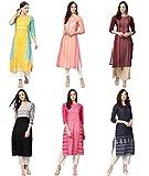 Vaamsi Women's PrinteN Polyester Straight Kurta Combo (Pack of 6) (COPK(1583-1603-1651-1690-1691-1767) N_S_MulticoloureN)