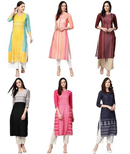 Vaamsi Women's PrinteN Polyester Straight Kurta Combo (Pack of 6) (COPK(1583-1603-1651-1690-1691-1767) N_L_MulticoloureN)