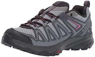 Salomon Women's X Crest Hiking Shoes, Alloy/Ebony/Malaga, 9 US