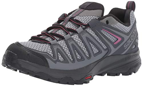 Salomon Women's X Crest Hiking Shoes, Alloy/Ebony/Malaga, 10.5 US