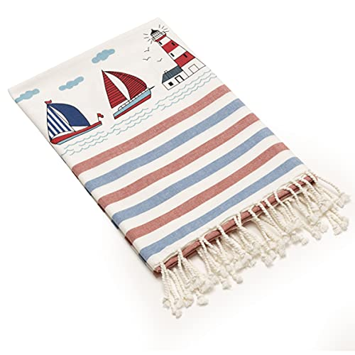 Baroni Home Telo Mare 100% Cotone Asciugamano Mare Super Assorbenza Telo da Spiaggia, Mare, Piscina, Asciugatura Rapida, Misure 100x200 cm, Barche