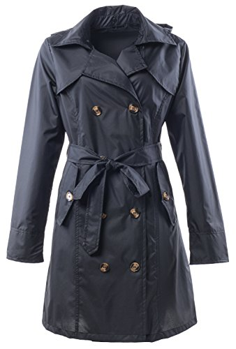QZUnique Women's Waterproof Packable Rain Jacket Double Breasted Poncho Raincoat Black