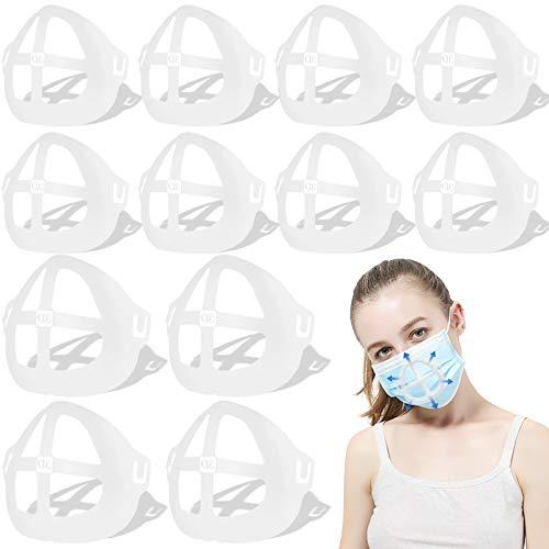 3D Face Inner Bracketfor Protecting Lipstick Lips,ComfortableBreathing-Washable-Reusable-Translucent (off-white 12PCS)