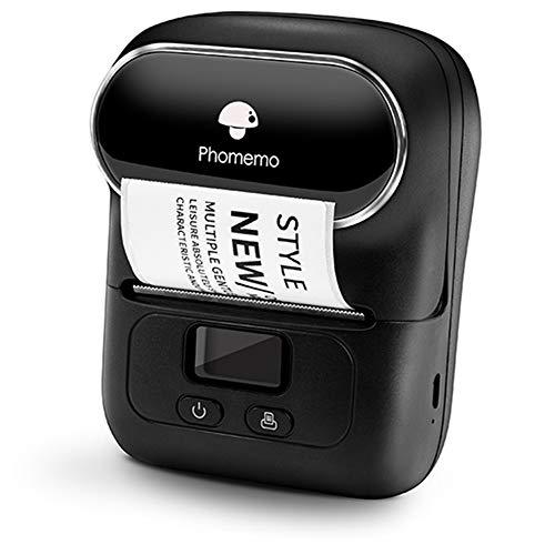 Phomemo M110 Etikettendrucker-Thermoetikettendrucker、tragbarer Etikettendrucker、Bluetooth-Verbindung,Geeignet für Büro, Barcode QR-Code,Transport, Kabel, Einzelhandel,Mit 1 Etikett 40 × 30 mm,Schwarz