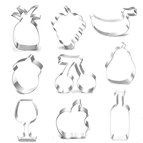BakingWorld Fruit Cookie Cutter Set - 9 Piece - Apple Banana Strawberry Pineapple Grape Cherry Pear Wine Glass Wine Bottle Cookie Cutters molds for Kids Birthday and Summer Party Supplies Favors