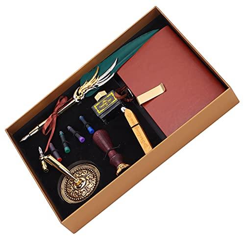LAJS Juego de bolígrafos de caligrafía por inmersión, Equipado con Cera de Laca y Kit de bolígrafo de Tinta con Sello de Laca para el hogar y Oficina(SP139035 Verde Oscuro, Animales Polares)