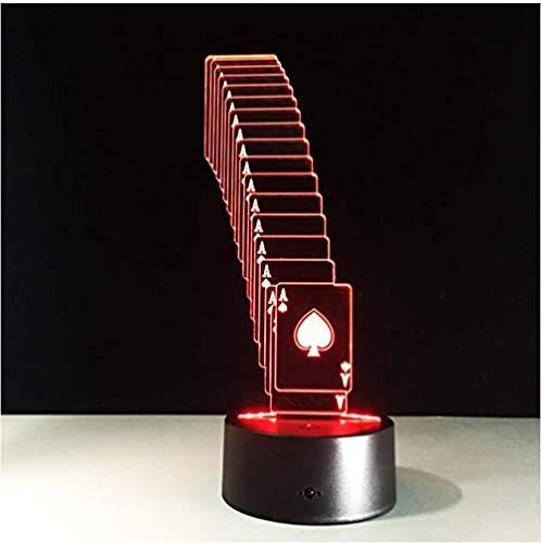 Lámpara plegable de póker 3D 7 Cambio de color Luz de mesa de escritorio USB Luz de batería LED Casino 3D Ilusión Luz led Novedad Regalos