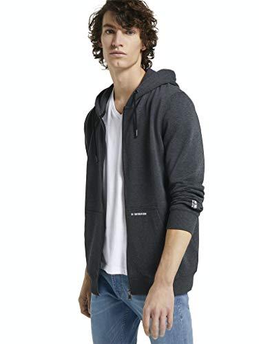 TOM TAILOR Denim Herren 1024239 Basic Sweatjacke, Black, XL