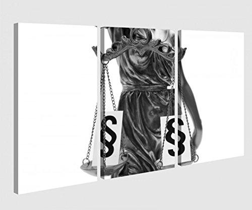 Leinwandbild 3 Tlg Anwalt Paragraph Göttin Justitia Waage Schwarz weiß Leinwand Bild Bilder Holz fertig gerahmt 9P1056, 3 tlg BxH:90x60cm (3Stk 30x 60cm)