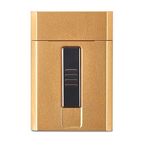 HQPCAHL Caja De Cigarrillos con Encendedor Caja De Cigarrillos Portátil 20 Piezas Cigarrillos Encendedores USB 2 En 1 Encendido De Alambre De Tungsteno Recargable para Mujeres Y Hombres,A