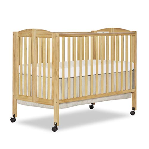 Dream On Me Full Size 2 in 1 Folding Stationary Side Crib, Natural