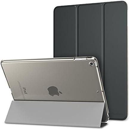MoKo Smart Cover per Nuovo iPad 9.7 Pollici 2018/2017, Ultra Sottile Leggero Custodia con Funzione di Auto Sveglia/Sonno con Retro Semi-Trasparente Rigido per Apple iPad 9.7, Grigio Siderale