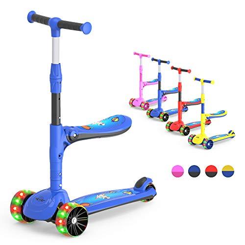 M Megawheels Patinete 3 Ruedas con Led, Altura Ajustable de Patinete niño más 2 años. (Blue02)