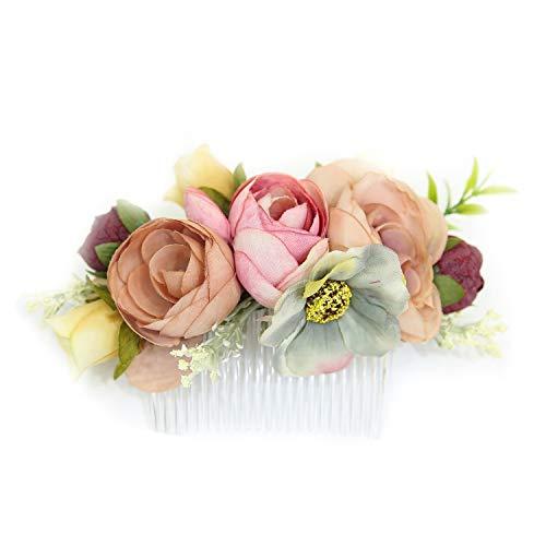 Ever Fairy Hecho a mano moda peine del pelo de la flor para las mujeres niña vestido de dama de honor peine de satén peine accesorios de la pluma (D)